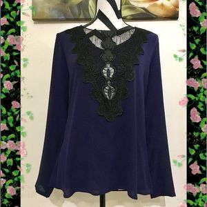 NY Collection Lace Inserted Dark Blue Blouse